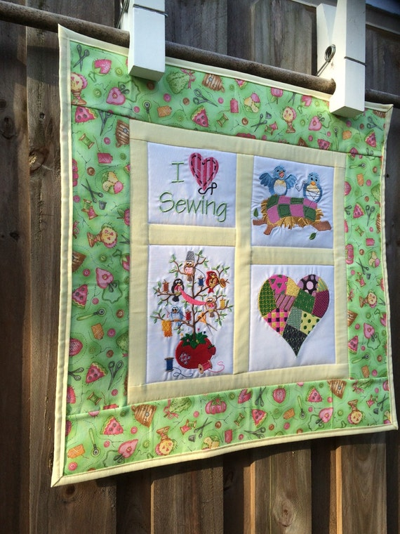 Sewing lover embroidered quilt wall hanging 20 inch square