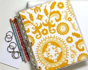 Binder Notebook, 9 x 11, Suzani Yellow
