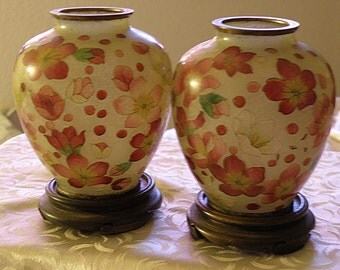 pair floral glass vase marked occupied japan