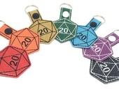 D20 keychain, dice key fob, d20 key ring