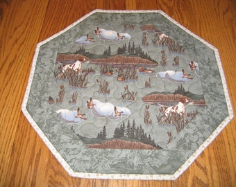 "Quilted Octagon Mat in an Outdoor North Woods Scene - 16"" diameter"