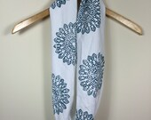white with deep teal zen mandala print upcycled t-shirt summer infinity scarf