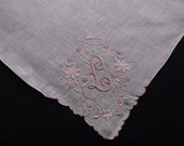 Lovely Pink L Mongrammed Linen Hankie Handkerchief  Embroidered with Appliqued Flowers  Original Tag Free Shipping with US