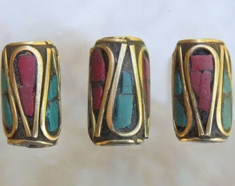 13x8mm (1.5mm Hole) Coral, Turquoise and Brass Handmade Tibetan Tube Beads - Qty 6 (G333)