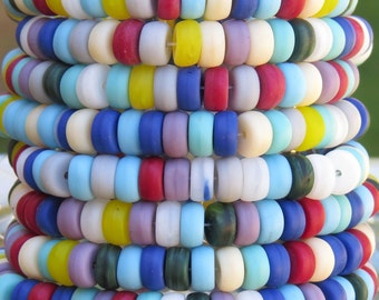 6x4mm Opaque Color Mixed Czech Glass Smooth Rondel Beads - Qty 50 (AW276)
