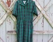1980's does 1950's - vintage 1980's plaid shirtwaist dress L XL
