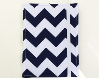 Kindle Cover Hardcover, Kindle Case, eReader, Kobo, Kindle Voyage, Kindle Fire HD 6 7, Kindle Paperwhite, Nook GlowLight Navy Chevron Case