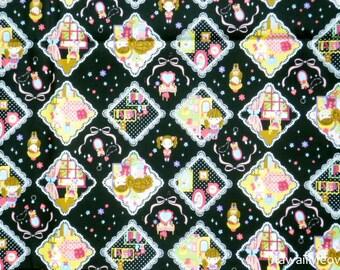 Kawaii Japanese Fabric - Cute Girls on Black - Half Yard (ca0913)