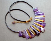 Necklace - Golden Purple - amethyst, hematite , modern, unique, art to wear, ooak, contemporary- by Schneider Gallery