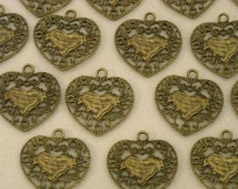 21 oxidized heart pendants  ( Y 54 )