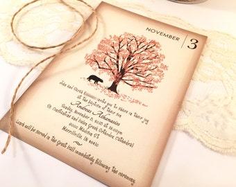 Bear under the Tree Baptism Invitation and Envelopes, Burnt orange, Brown, Black Bear, Boys Baptism, Girls, Invitations Baby Shower Invite