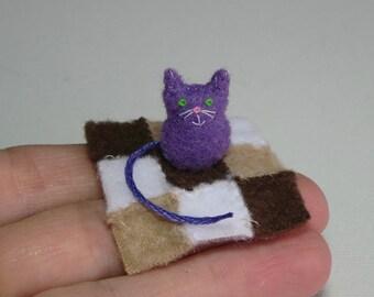 Felt cat purple miniature plush with fleece patchwork blanket