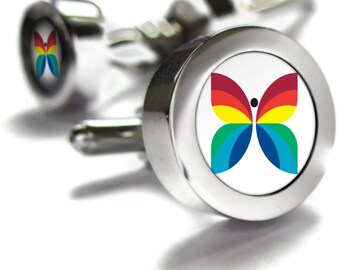 CBC Retro Rainbow Cufflinks - diversity and pride gift, Canada themed gifts, retro gifts, Canadian gifts, Canadian Cuff links, dad gift