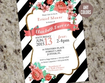Vintage Florals with Black and White Bold Stripes and Glitter Border - Mint and Coral - Elegant Bridal Shower Invitation -DIY Print Your Own