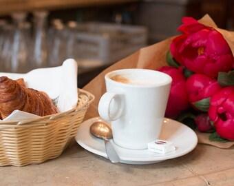 Paris Photograhy, Morning in Paris, Cafe stop, Red Peonies, Nature, Coffee, Parisian Cafe, Kitchen Art, Paris Wall Art