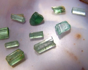 10 Blue Green Tourmaline Crystals - lot of stones - parcel of crystal - gemmy wire wrap natural raw rough orgonite coyoterainbow  iCF4