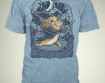 Mens T-shirt - Cat Wizard -Tri-Blend - Track T - CLEARANCE