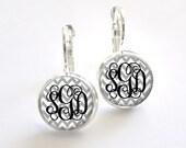 Gray Chevron Monogram Earrings, Bridesmaid Gift, Personalized Earrings (397)