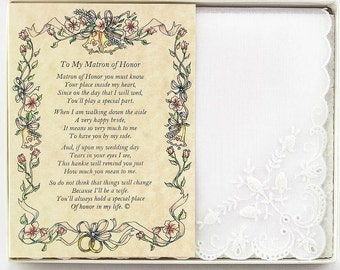 Personalized From the Bride to her Matron of Honor Wedding Handkerchief - BH112