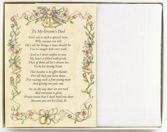 Personalized From the Bride to her Father-in-Law Wedding Handkerchief - BH104