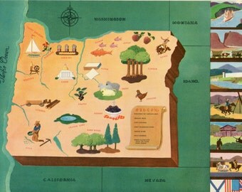 Vintage Pictorial Map of Oregon 1939 World's Fair