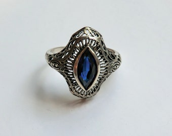 Art Deco Sterling Filigree Ring Sapphire Blue Glass Stone Size 8