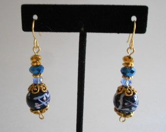 Blue Beads Earrings Blue Earrings Porcelain Beads China Crystal Beads Asian Design Beads Pierced Earrings Dangle Earrings