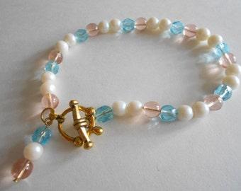 Pink Beads Bracelet Blue Beads Bracelet Pearl Beads Bracelet Pink Bracelet Blue Bracelet White Pearl Bracelet Glass Beads Bracelet