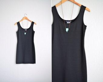 vintage '90s MINIMALIST black sleeveless scoop neck TANK DRESS. size xs s.