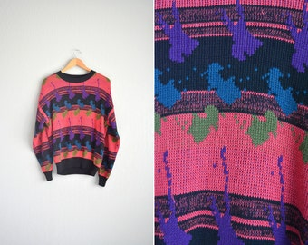 vintage '80s pink & black PAINT SPLATTER PATTERNED knit sweater. size l xl.