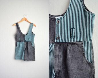 vintage girl's '80s acid wash black & green striped COLOR BLOCK DENIM romper. size youth 11/12.