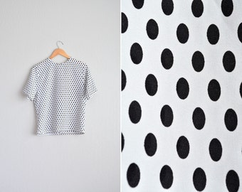 vintage '80s white & black oval POLKA DOT short sleeve SHELL blouse. size s m.