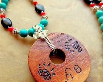 Bear Necklace, Cherokee Language, Cedar Jewelry, Cedar Pendant, Handcrafted Jewelry, Silver Wire Wrap, Native Style, Turquoise Jewelry