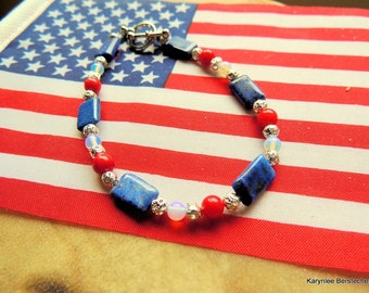 Lapis and Moonstone with Red Coral Bracelet,  Salute to Troops Bracelet, Red-White and Blue, Handcrafted Jewelry, Lapis Jewelry