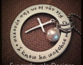 Sparrow Necklace - stainless steel 1 sided washer - choice of chain - custom wording available - Swarovski crystal - large sterling cross
