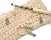 Removable Stitch Markers Snagless Aqua Blue Yellow Crochet Snag Free Row Markers Gift for Crochet Knitting TJBdesigns
