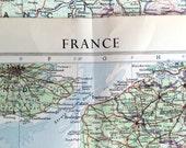 1958 Vintage Map of France - Large Map of France