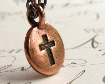 Christian necklace, simple cross necklace, copper charm, small charm necklace, everyday wear, casual jewelry, understated, tiny cross
