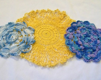 Vintage Crochet Doily , Crocheted Doily, Set of Doilies, Yellow Doily, colorful doilies
