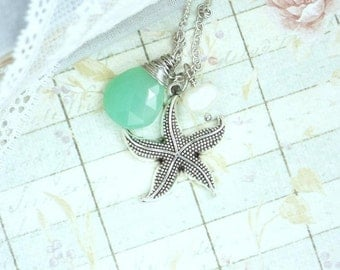 Starfish Jewelry Seafoam Green Necklace Nautical Jewelry Starfish Necklace Beach Jewelry Briolette Necklace