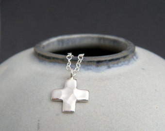 tiny silver cross necklace. small square cross. sterling silver. hammered cross pendant. faith christian jewelry. simple charm gift. 3/8""