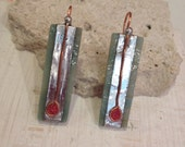Glass rectangle earrings, drop earrings, minimalist, art deco, wright style art nouveau
