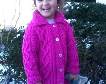 Mairead aran cable coat for little girls, PDF knitting pattern