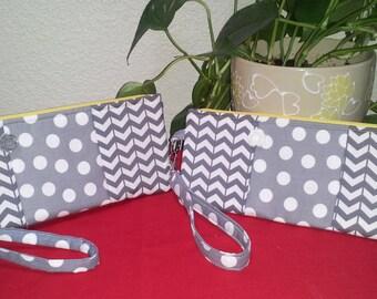 Wristlet Wallet, Gray Chevron Polka Dot Print, Zippered Clutch, Cell Phone Carrier, Makeup Wristlet, Zipper Pouch, Bridesmaid Gift
