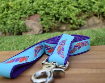 Feathers dog leash, Aqua and Purple Dog Lead - Custom length up to 6ft, Australian made