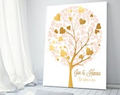 Anniversary Gift for wife Faux Gold Art Bedroom Decor FAUX Gold Tree Gold Art hearts Wedding gifts for couple Wedding Keepsake Family tree