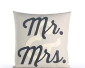 "MR. & MRS. 16""x16"" decorative throw pillow"
