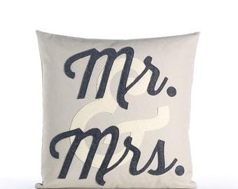 """Decorative Pillow, Throw Pillow, """"Mr. & Mrs."""" pillow, 16 inch, Wedding Gift"""