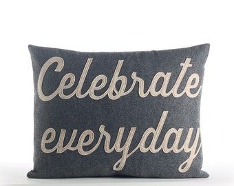 "Throw Pillow, Decorative Pillow, ""Celebrate Every Day"" pillow, 14x18 inch"