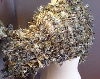 Hand knit shrug, bolero or Sleevie - Artistic Fiber Knit short sleeve petite medium Shrug, sweater sleeves by rockpaperscissorsetc